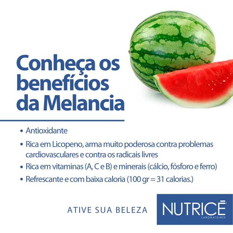 Imagem com os benefícios da melancia